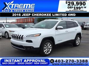 2016 JEEP CHEROKEE LIMITED 4WD *$0 DOWN* $199 B/W APPLY NOW
