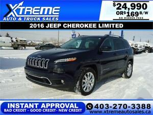 2016 JEEP CHEROKEE LIMITED $0 DOWN $169 B/W APPLY NOW DRIVE NOW