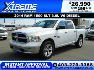 2014 RAM 1500 SLT ECODIESEL *INSTANT APPROVAL* $0 DOWN $199/BW!