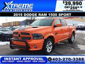 2015 RAM 1500 SPORT CREW  *INSTANT APPROVAL $0 DOWN $259/BW