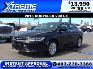 2015 CHRYSLER 200 LX $89 B/W *$0 DOWN* APPLY NOW DRIVE NOW