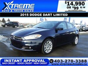2015 DODGE DART LIMITED $99 Bi-Weekly APPLY NOW DRIVE NOW
