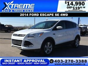 2014 FORD ESCAPE SE 4WD ECOBOOST $119 B/W APPLY NOW DRIVE NOW