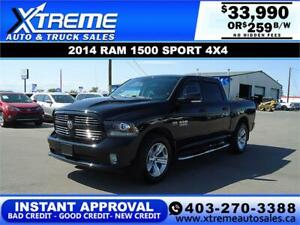 2014 RAM 1500 SPORT CREW CAB *INSTANT APPROVAL* $259/BW