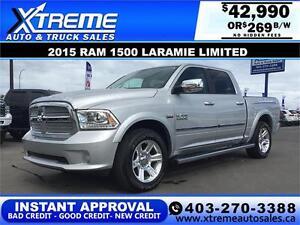 2015 DODGE RAM 1500 LARAMIE *INSTANT APPROVAL* $0 DOWN $269/BW!