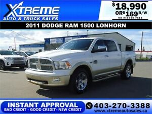 2011 DODGE RAM 1500 LONGHORN CREW *INSTANT APPROVED* $169/B/W