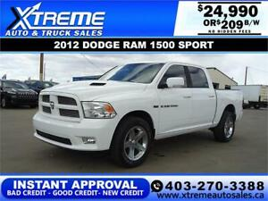 2012 DODGE RAM 1500 SPORT CREW CAB *INSTANT APPROVAL* $209/BW