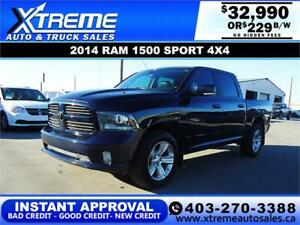 2014 RAM 1500 SPORT CREW CAB *INSTANT APPROVAL* $0 DOWN $229/BW