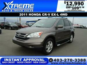 2011 HONDA CR-V EX-L 4WD $139 Bi-Weekly APPLY NOW DRIVE NOW