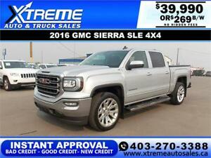 2016 GMC SIERRA 1500 SLE CREW CAB *INSTANT APPROVAL $269/BW