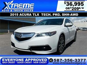 2015 Acura TLX TECH PKG SH-AWD $209 biweekly APPLY NOW DRIVE NOW
