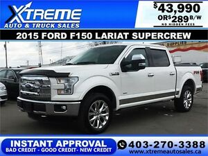 2015 Ford F150 Lariat SuperCrew $289 b/w APPLY NOW DRIVE NOW
