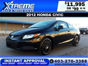 2012 Honda Civic Coupe $99 bi-weekly APPLY NOW DRIVE NOW