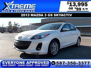 2013 Mazda3 GS SkyActiv $99 bi-weekly APPLY TODAY DRIVE TODAY
