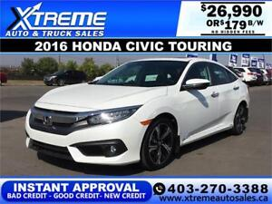 2016 HONDA CIVIC TOURING TURBO $119 B/W APPLY NOW DRIVE NOW