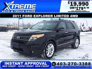 2011 FORD EXPLORER LIMITED 4WD $179 B/W APPLY NOW DRIVE NOW