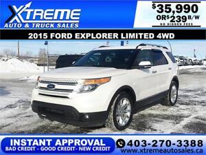 2015 FORD EXPLORER LIMITED *$0 DOWN $239 B/W APPLY NOW DRIVE NOW