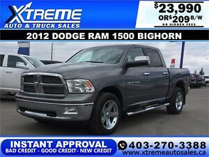 2012 DODGE RAM 1500 BIGHORN *INSTANT APPROVAL* $0 DOWN $209/BW!