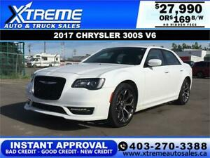 2017 CHRYSLER 300 S $169 B/W *$0 DOWN* APPLY NOW