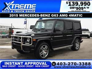 2015 MERCEDES-BENZ G63 AMG $909 B/W! $0 DOWN *INSTANT APPROVAL*