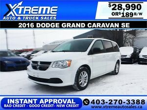 2016 Dodge Grand Caravan SXT $189 bi-weekly APPLY NOW DRIVE NOW