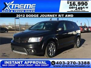 2012 DODGE JOURNEY R/T AWD $149 bi-weekly APPLY NOW DRIVE NOW