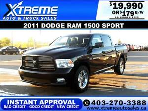 2011 DODGE RAM 1500 SPORT *INSTANT APPROVAL* $0 DOWN $179/BW!