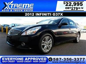 2012 Infiniti G37X AWD $179 bi-weekly APPLY NOW DRIVE NOW