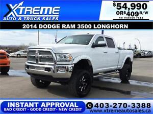 2014 RAM 3500 LONGHORN LIFTED *INSTANT APPROVAL* $0 DOWN $409/BW