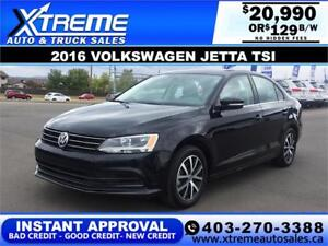 2016 VOLKSWAGEN JETTA TSI $129 bi-weekly APPLY NOW DRIVE NOW