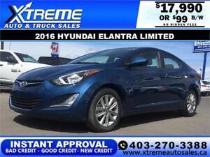 2016 Hyundai Elantra Limited $99 b/w APPLY NOW DRIVE NOW