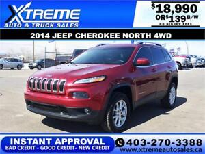 2014 JEEP CHEROKEE NORTH 4WD $139 BI-WEEKLY APPLY NOW DRIVE NOW