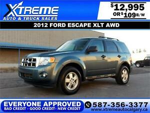 2012 Ford Escape XLT AWD $109 Bi-Weekly APPLY NOW DRIVE NOW