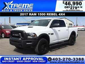 2017 RAM 1500 REBEL CREW CAB *INSTANT APPROVAL $0 DOWN $279/BW!