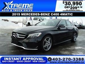 2015 MERCEDES-BENZ C400 4MATIC $209 B/W! APPLY NOW DRIVE NOW