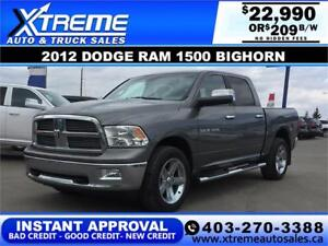 2012 DODGE RAM 1500 BIGHORN *INSTANT APPROVAL* $0 DOWN $209/BW