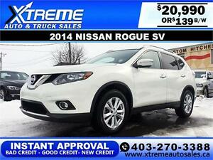 2014 Nissan Rogue SV $139 bi-weekly APPLY NOW DRIVE NOW