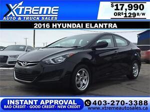 2016 Hyundai Elantra $129 bi-weekly APPLY NOW DRIVE NOW