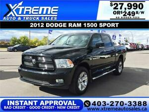 2012 DODGE RAM 1500 SPORT *INSTANT APPROVAL* $0 DOWN $249/BW!