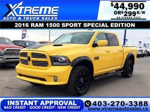 2016 RAM 1500 SPORT SPECIAL EDITION * $0 DOWN $299/BW!