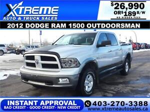 2012 DODGE RAM OUTDOORSMAN *INSTANT APPROVAL* $0 DOWN $189/BW!