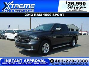 2013 RAM 1500 SPORT CREW* INSTANT APPROVAL* $0 DOWN $199/BW!