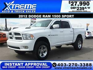 2012 RAM 1500 SPORT LIFTED *INSTANT APPROVAL* $0 DOWN $239/BW!