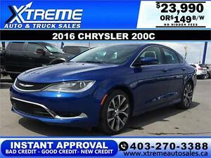 2016 Chrysler 200C Panoramic Sunroof $0 Down $149 APPLY NOW
