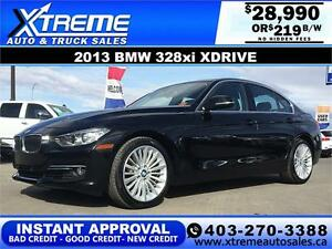 2013 BMW 328xi Xdrive LEATHER $219 bi-weekly APPLY NOW DRIVE NOW