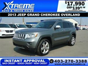 2013 JEEP GRAND CHEROKEE OVERLAND $139 Bi-Weekly APPLY NOW