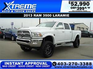 2013 RAM 3500 LARAMIE LIFTED *INSTANT APPROVAL* $0 DOWN $399/BW!