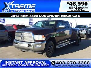 2012 RAM 3500 LONGHORN MEGA CAB DUALLY *INSTANT APPROVAL $409/BW
