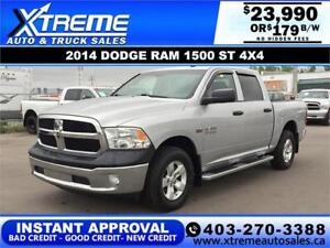 2014 RAM 1500 ST CREW CAB *INSTANT APPROVAL* $0 DOWN $179/BW!