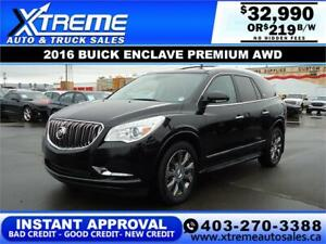 2016 BUICK ENCLAVE PREMIUM AWD  $0 DOWN $219 B/W APPLY NOW